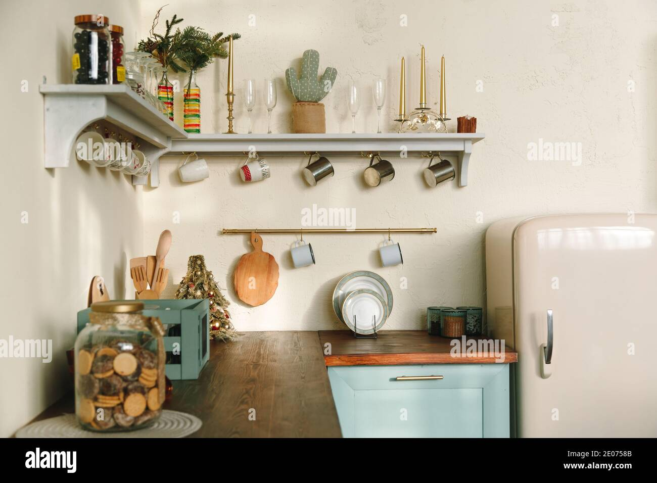 Rustic Kitchen Shelf High Resolution Stock Photography And Images Alamy