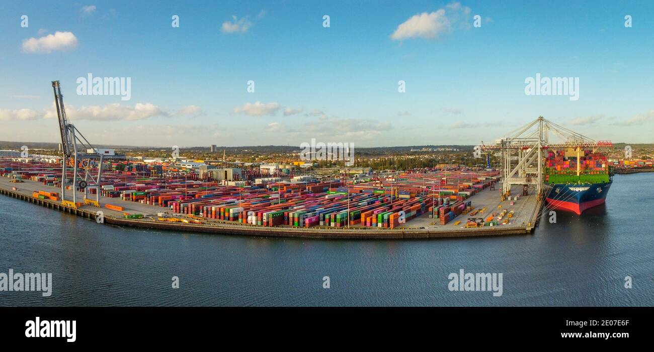 Container Ship HMM Copenhagen docked at Southampton docks, Southampton, England Stock Photo