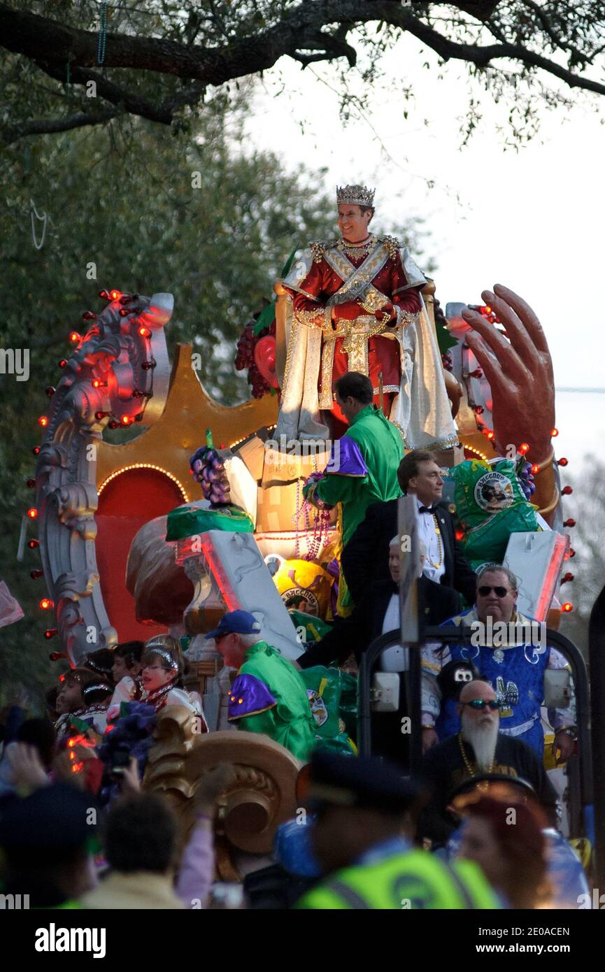 Will Ferrell as king of the Bacchus parade during Mardi Gras celebrations in New Orleans, LA, USA on February 19, 2012. Photo by Craig Mulcahy/ABACAPRESS.COM Stock Photo