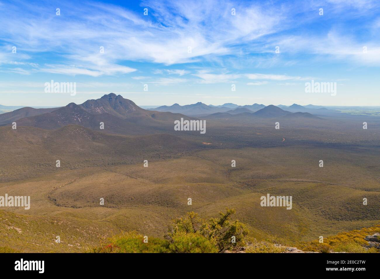 View into the Valley of the Sirtling Range Nationalpark close to Albany in Western Australia from Mt. Trio Stock Photo