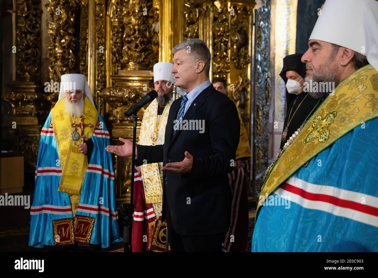 KYIV, UKRAINE - Dec. 15, 2020: Fifth President of Ukraine Petro Poroshenko during Festive service on the occasion of the second anniversary of the Unification Council in Saint Sophia Cathedral, Kyiv Stock Photo