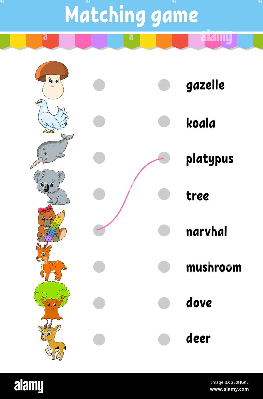 Matching Game For Kids Learn English Words Education Developing Worksheet Color Activity Page Cartoon Character Stock Vector Image Art Alamy