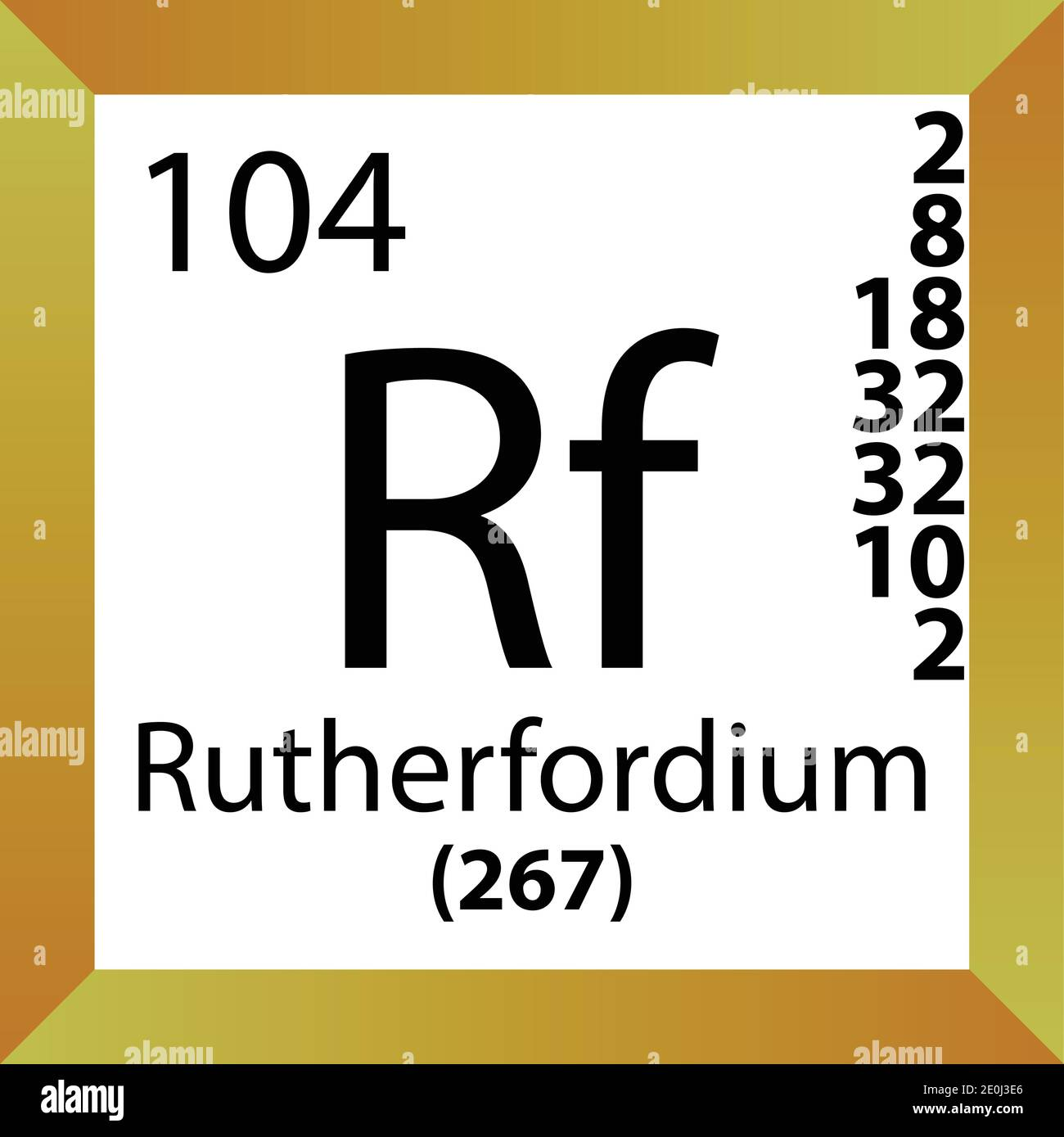 Rf Rutherfordium Chemical Element Periodic Table. Single vector illustration, colorful Icon with molar mass, electron conf. and atomic number. Stock Vector