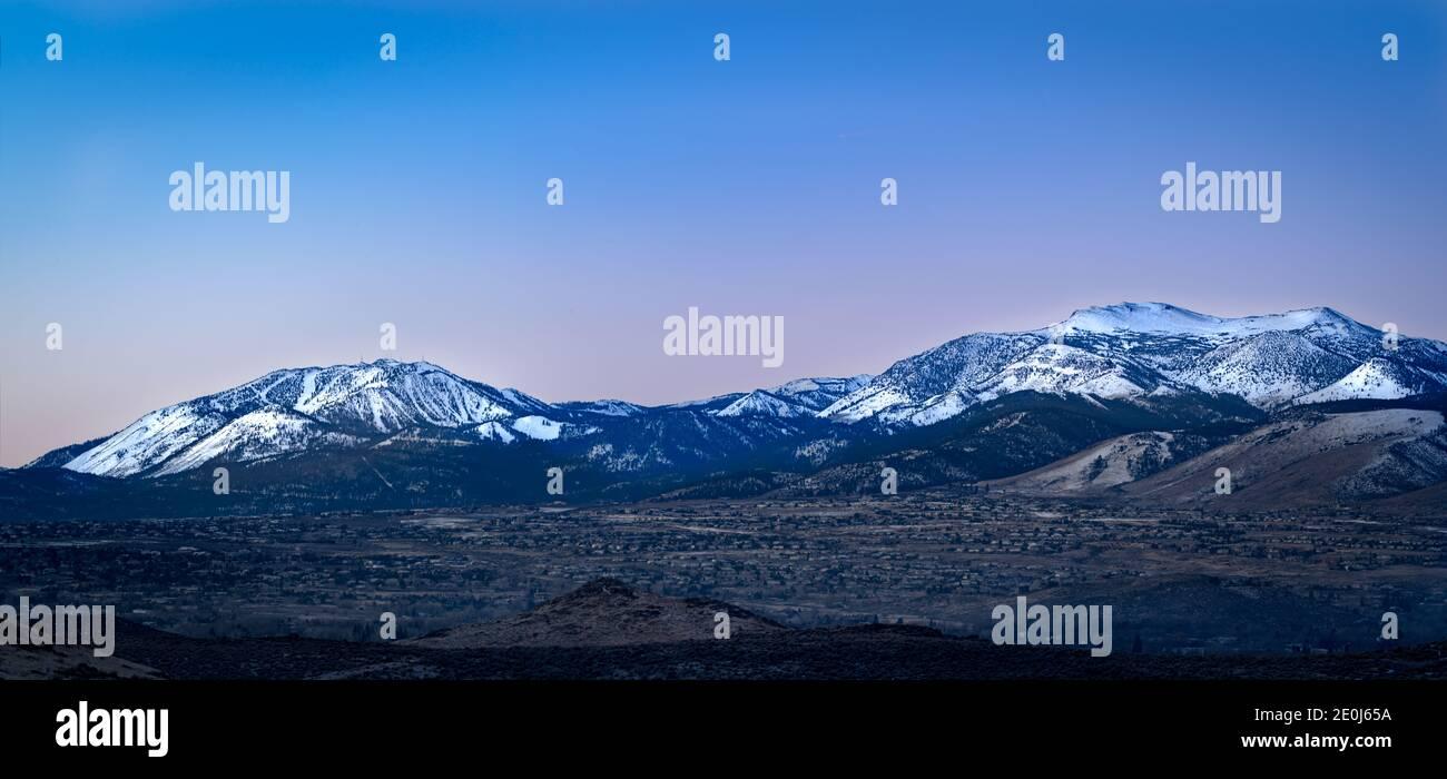 Sierra Nevada mountain panorama near Reno with Mt. Rose and Slide Mountain Stock Photo