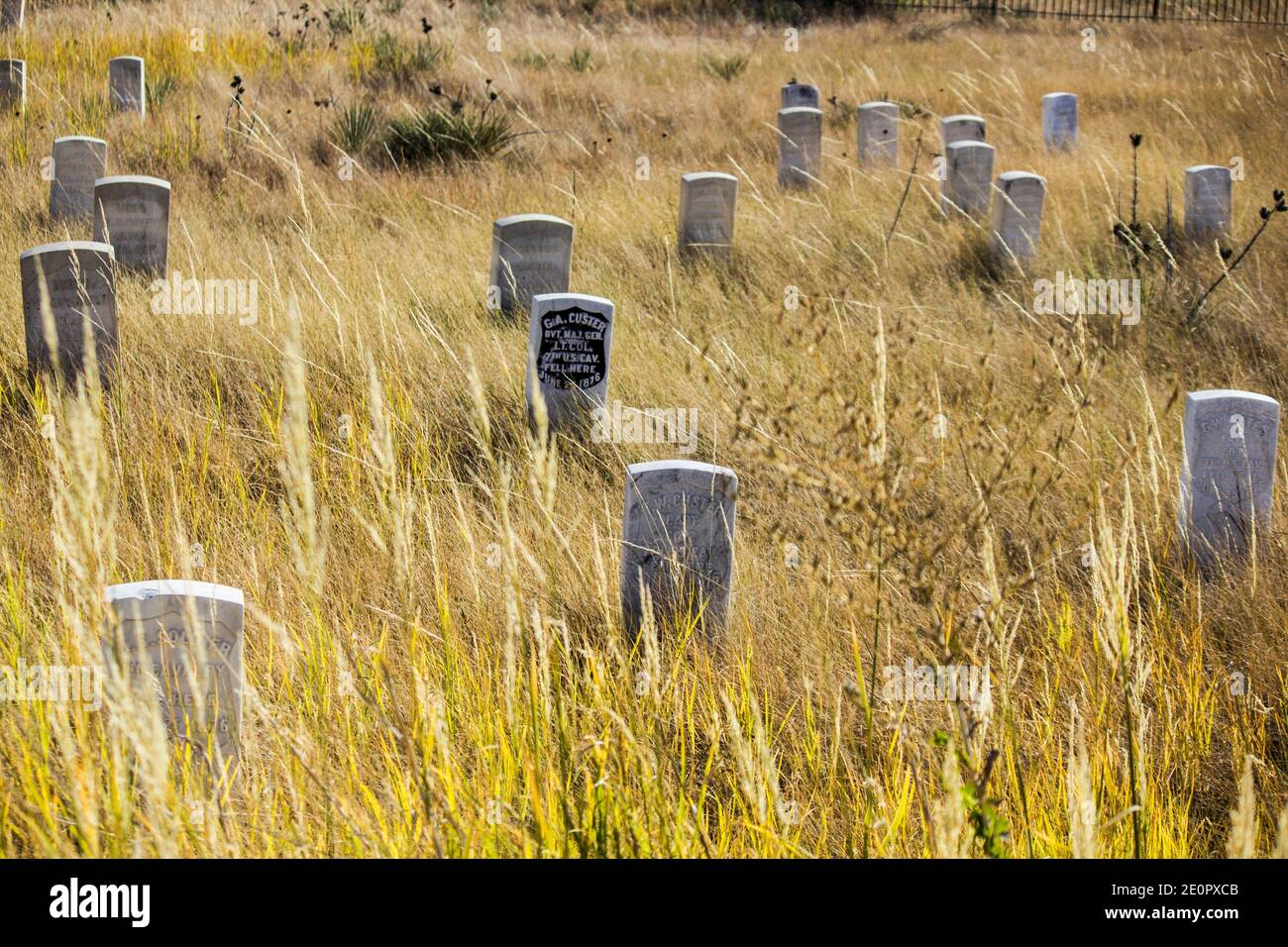 Custer's headstone among others. Little Bighorn Battlefield National Monument. Crow Agency, Montana, U. S. A. , North America. Stock Photo