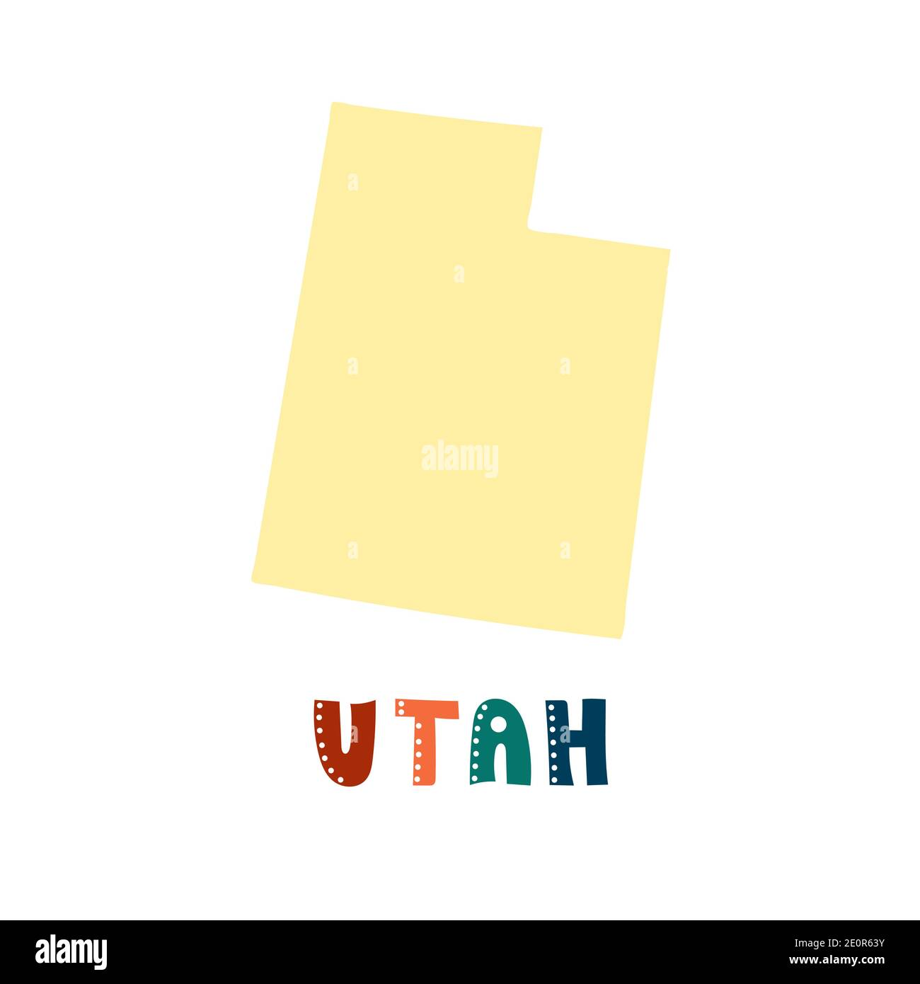USA collection. Map of Utah - yellow silhouette. Doodling style lettering Stock Vector