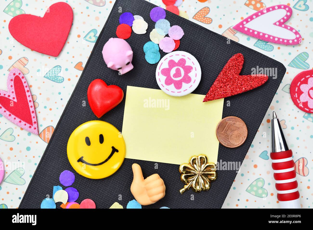 Calendar And Note, New Years Resolutions Stock Photo