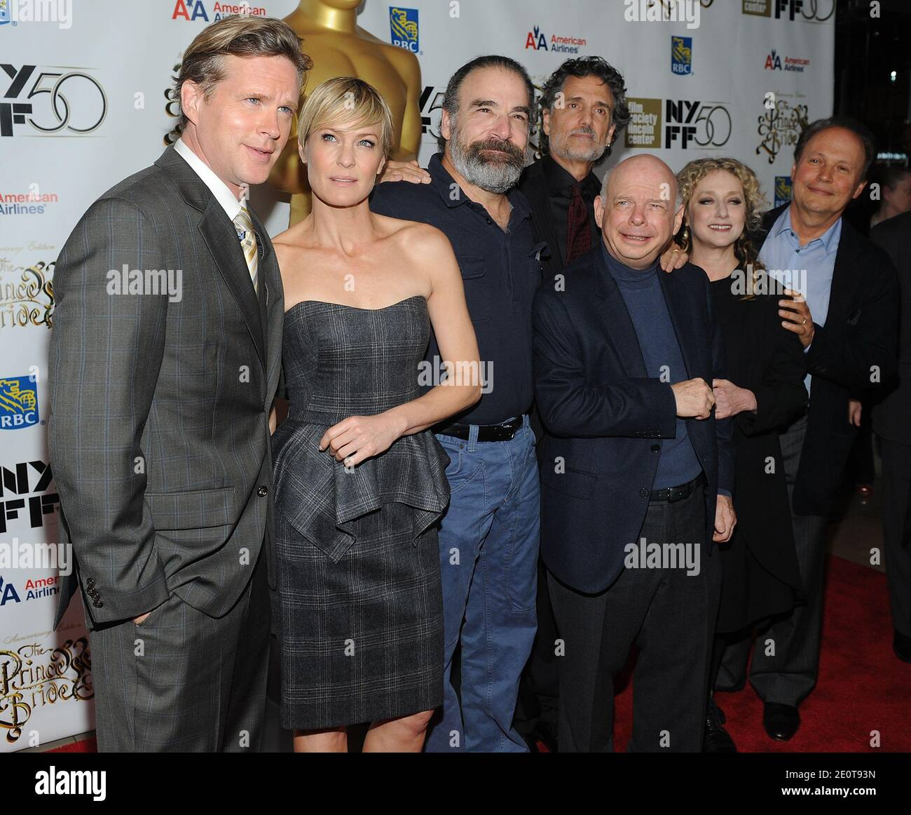 """Cary Elwes, Robin Wright, Mandy Patinkin, Chris Sarandon, Wallace Shawn, Carol Kane and Billy Crystal attending """"The Princess Bride"""" screening during the 2012 New York Film Festival at Alice Tully Hall in New York City, NY, USA, on October 0, 2012. Photo by Brad Barket/ABACAPRESS.COM Stock Photo"""