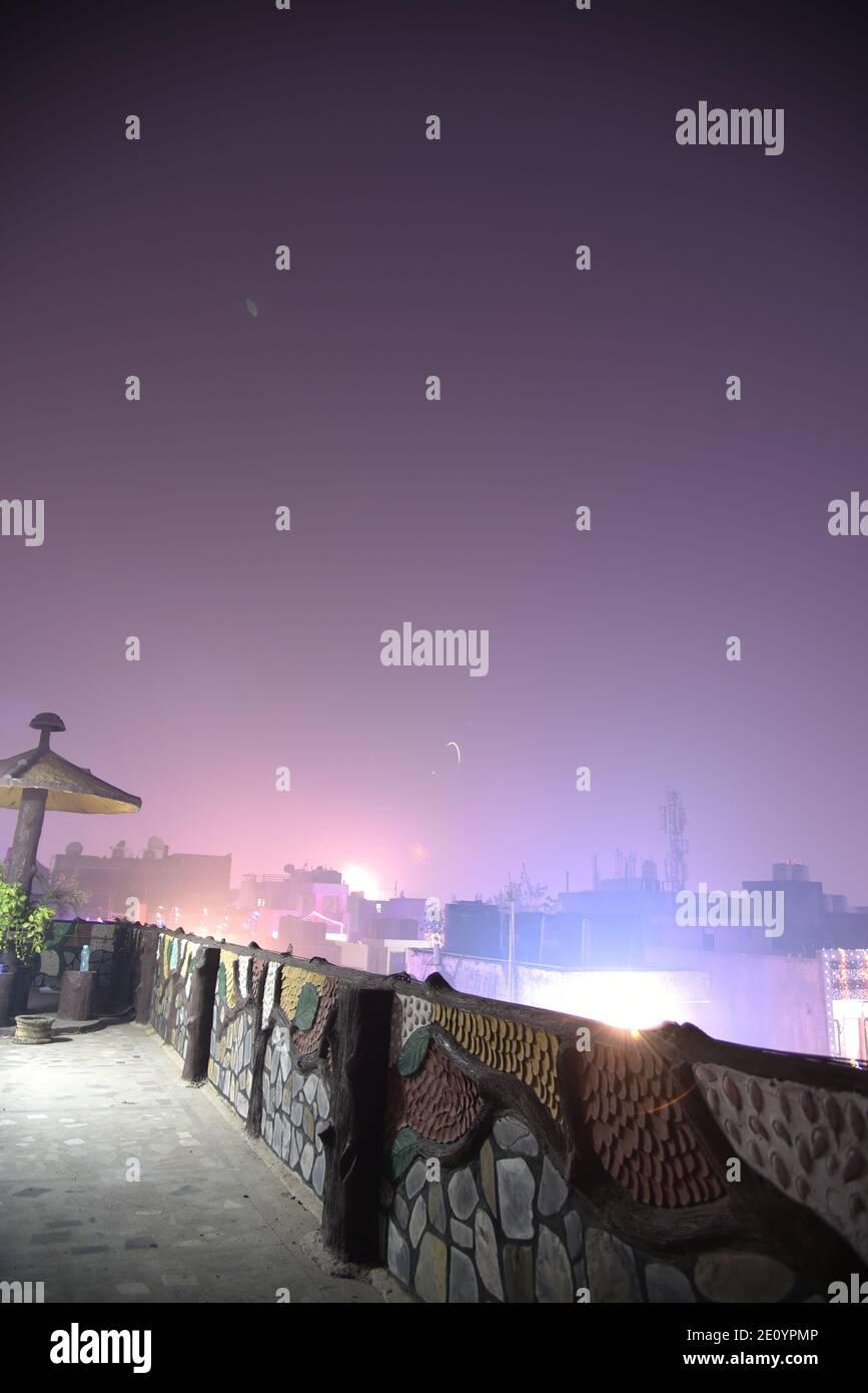 Sky fireworks amazing blasting sky during Indian religious Diwali / Depawali celebration in New Delhi, India Stock Photo