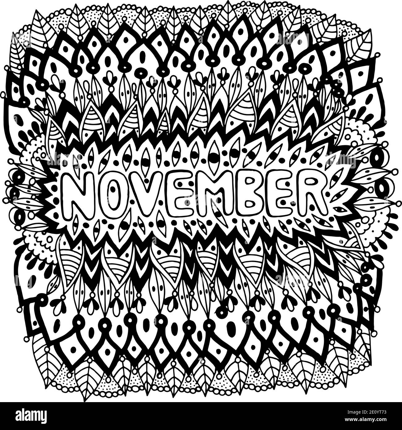 November Coloring Page For Adults Mandala With Months Of The Year Calendar Coloring Book Zentangle Style Art Therapy Coloring Sheet Vector Illus Stock Vector Image Art Alamy