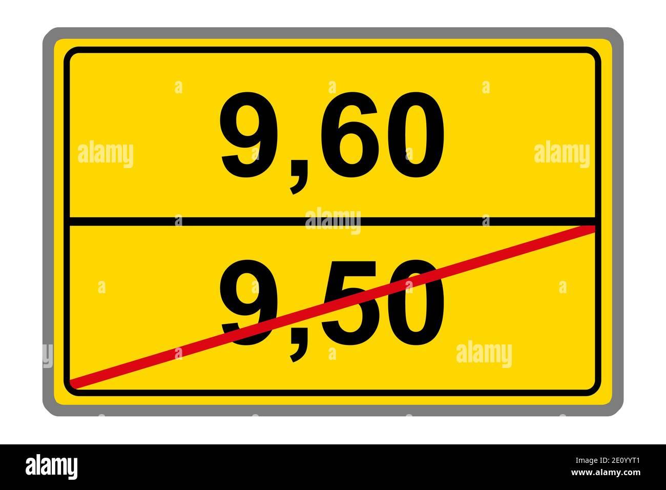 Gelbes Schild und Mindestlohn 2021 Stock Photo