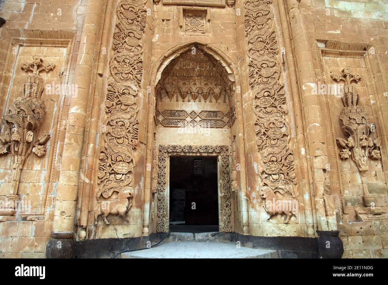 Ishak Pasha Palace entrance at Dogubeyazi in Agri, Turkey. The palace is built on a hill at the side of a mountain 5 km east of Dogubeyazit. Stock Photo