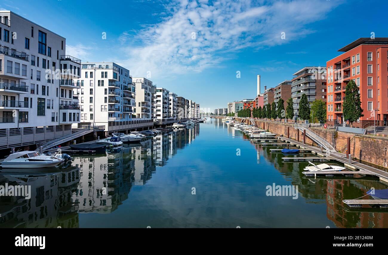 Residential Area Westhafen In Frankfurt Stock Photo