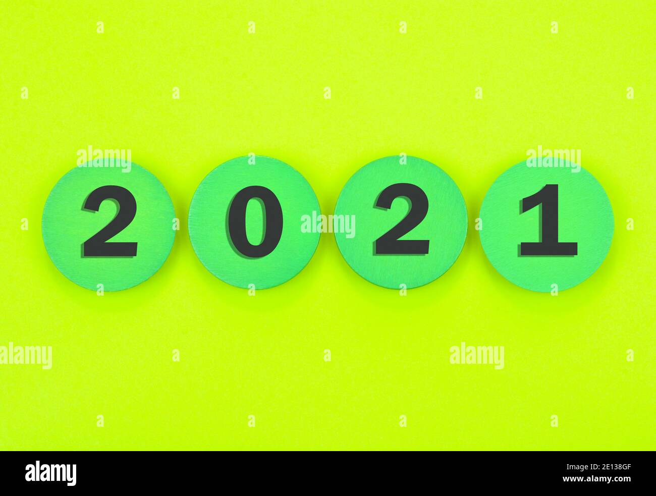 New Year 2021 on green background Stock Photo