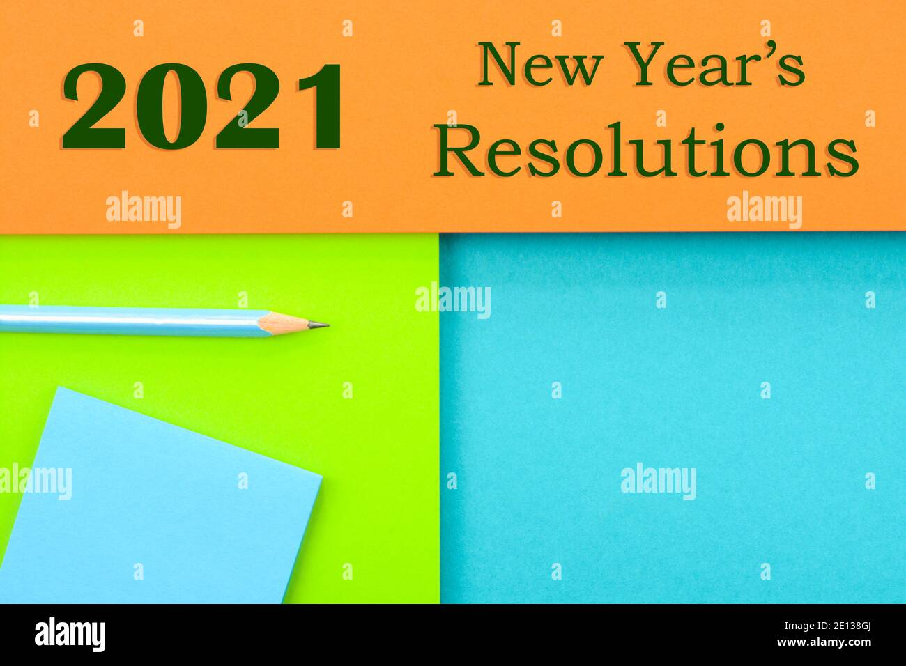2021 New year's resolutions text on a multicolored background Stock Photo