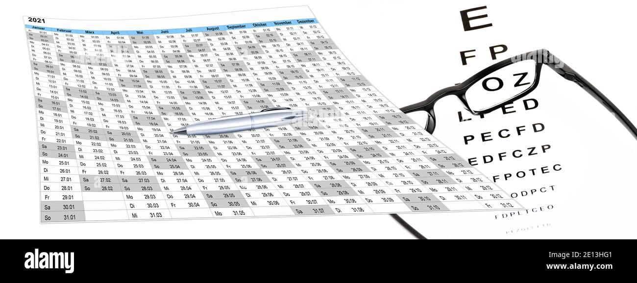 Kalender mit Sehtest und Brille, Terminvergabe Stock Photo