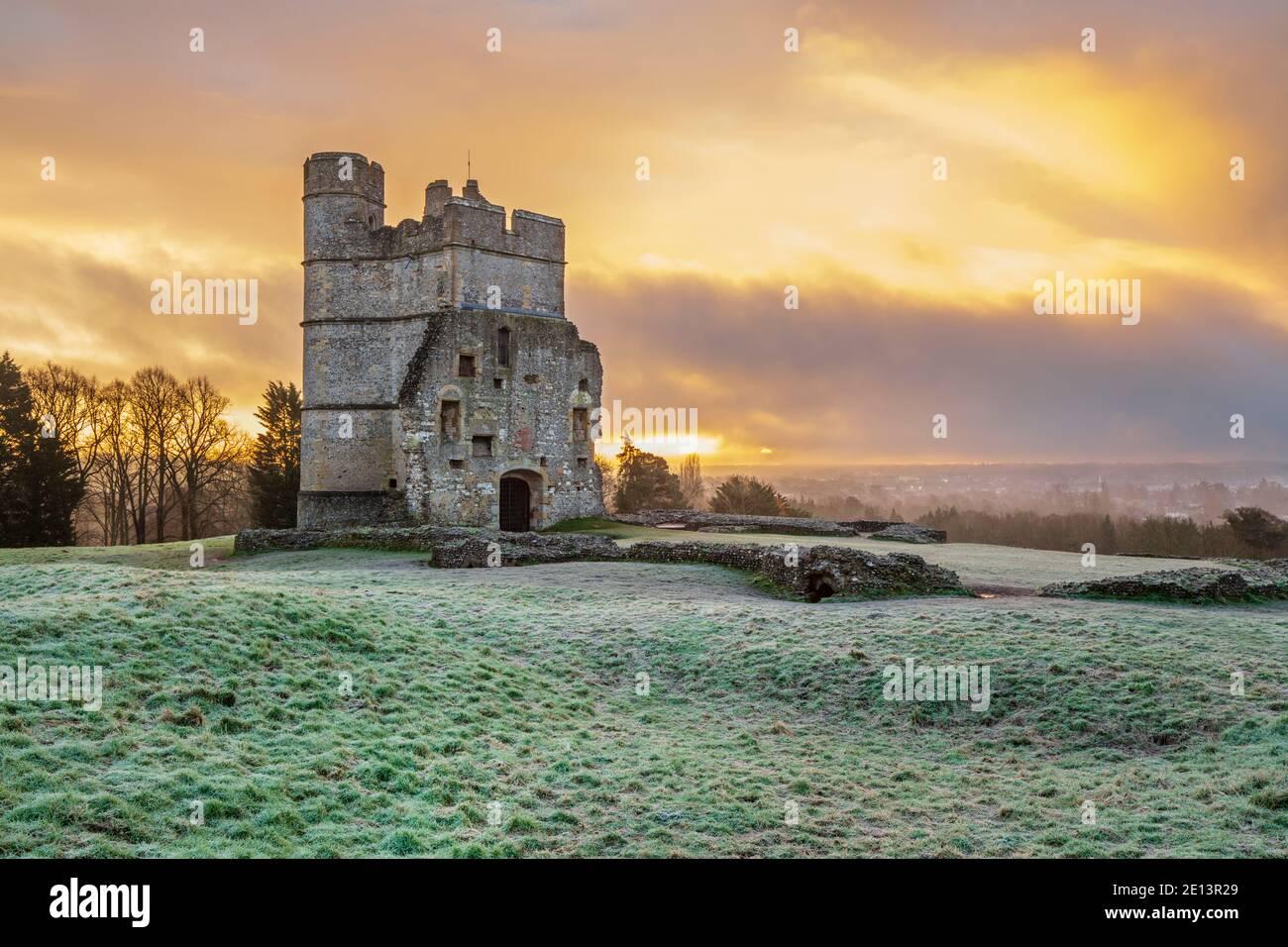 Donnington Castle in winter frost at sunrise, Newbury, Berkshire, England, United Kingdom, Europe Stock Photo