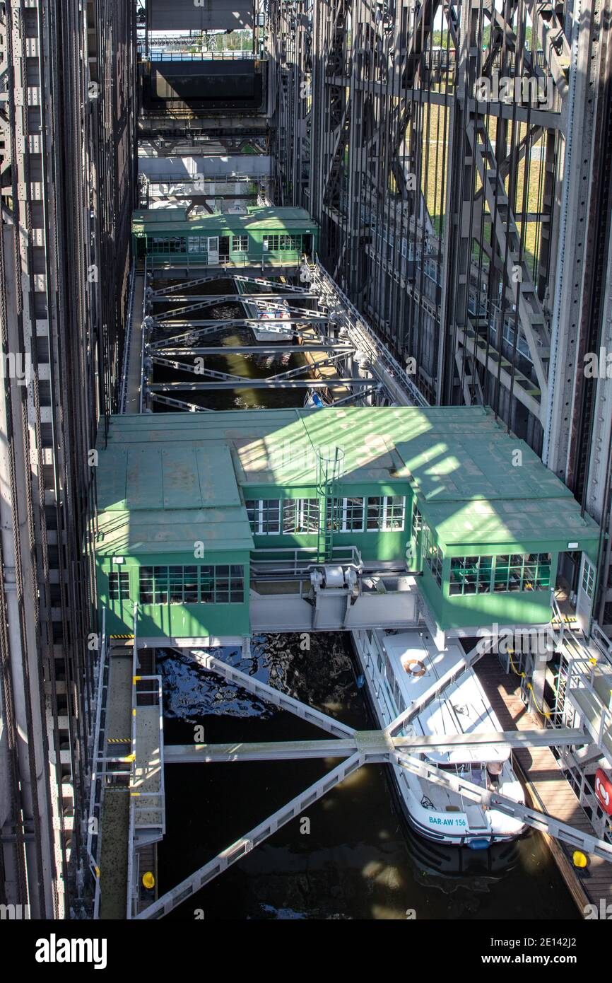 In The Ship Lift In Niederfinow Stock Photo