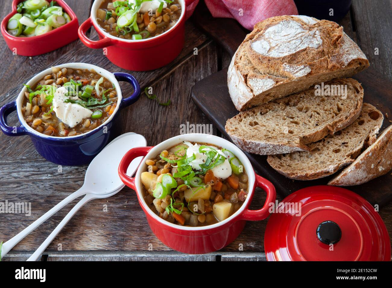 Savoury Lentil Soup Stock Photo