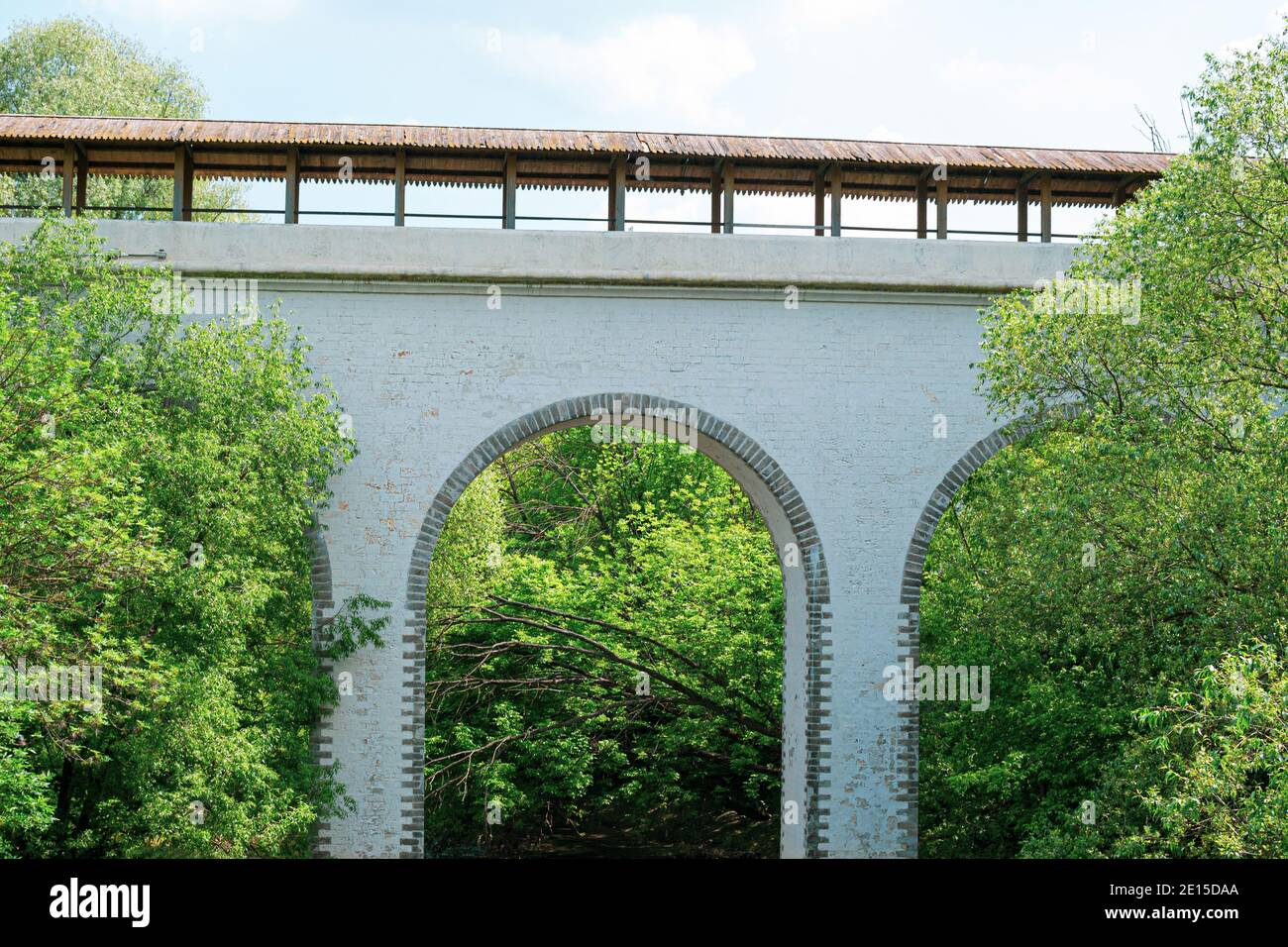 Moscow, Russia - June 9, 2020: Waterworks aqueduct in the Yauza River Valley in Moscow. Historical aqueduct of the 18th century made of white stone in Stock Photo