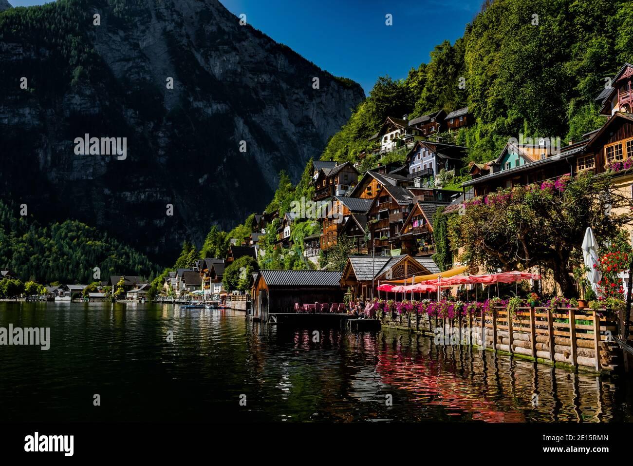 Picturesque Lakeside Town Hallstatt At Lake Hallstaetter See In Austria Stock Photo