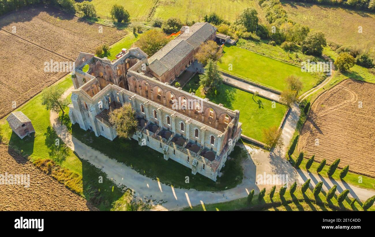 Aerial view of the abbey of San Galgano. is located about 25 miles from Siena, in southern Tuscany, Italy, Siena region. The Cistercian Abbey Stock Photo