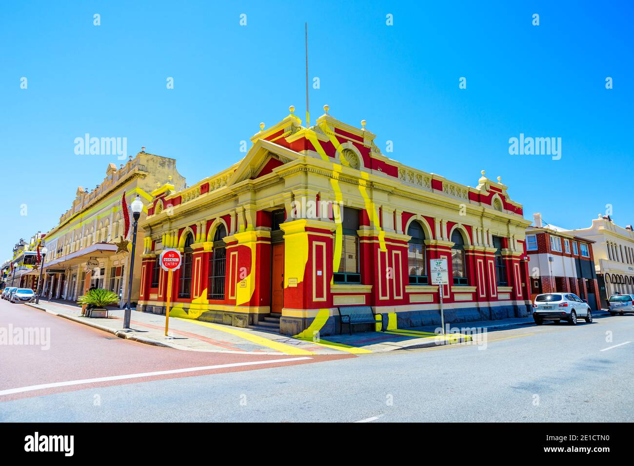 Fremantle, Western Australia - Jan 2, 2018: historical building situated on corner of High and Adelaide Streets and is part of optical illusion Stock Photo