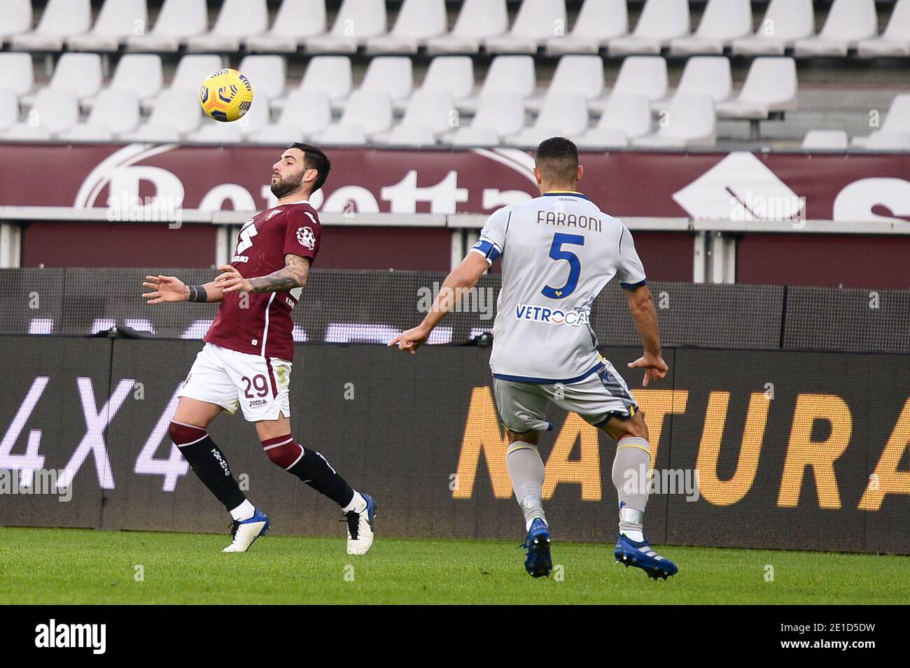 Nicola Murru of Torino FC during the Serie A football match between Torino FC and Hellas Verona FC at Stadio Olimpico Grande Torino on January 6, 2021 Stock Photo