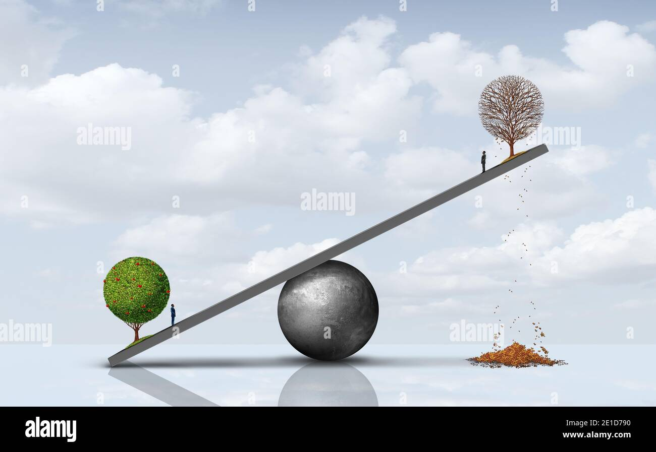 Social balance business concept and prosperity and poverty or rich poor economic concept and financial metaphor as a wealth disparity concept. Stock Photo