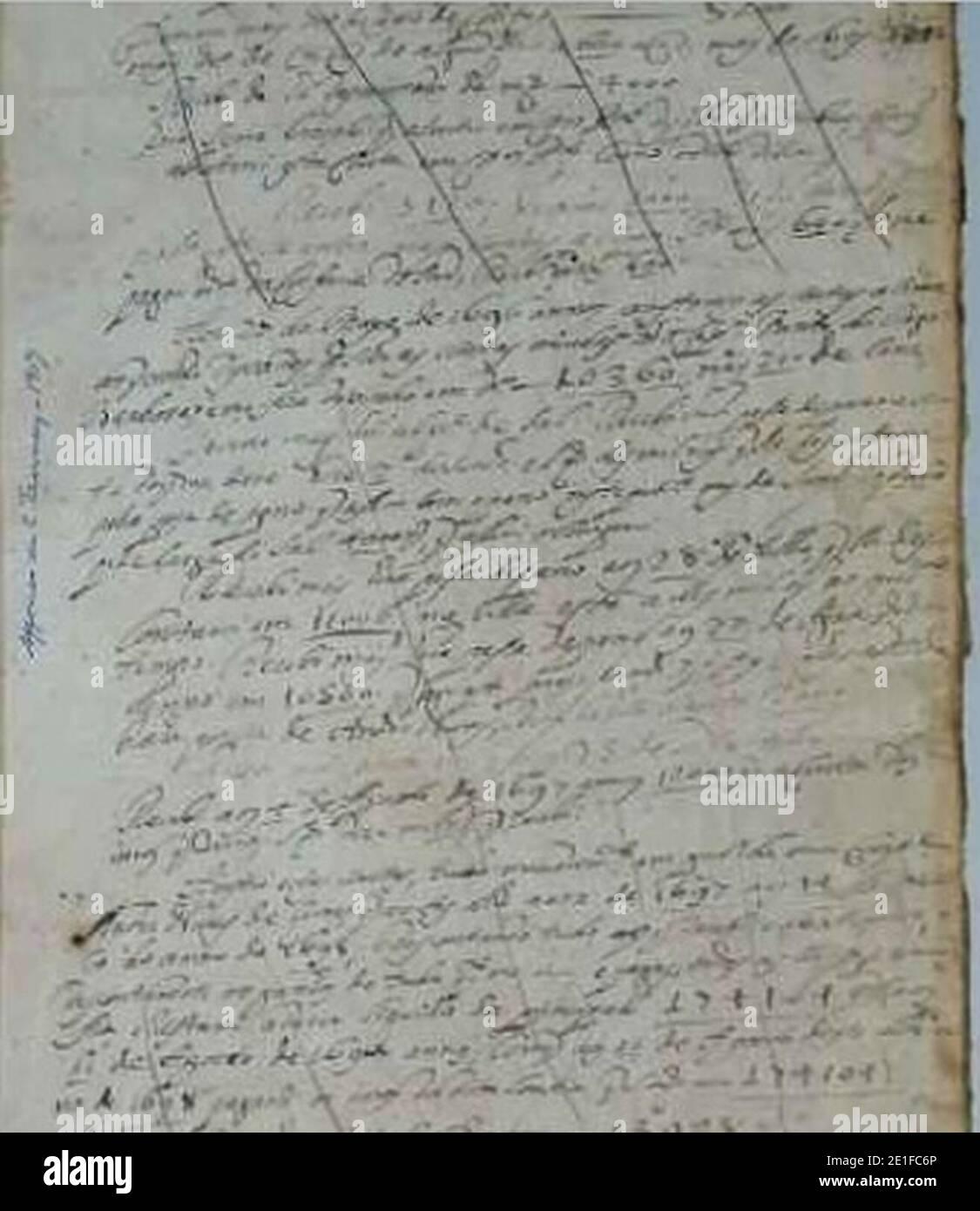 Livro Borrador, Século XVII-XVIII. Stock Photo