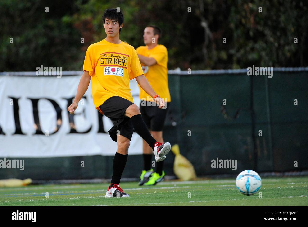 Japan's Kei Nishikori during the Hope Soccer Match for Japan between ATP World Tour Allstars and Fort Lauderdale Strikers at Ranson Everglades School in Miami, FL, USA on March 23, 2011. Photo by Corinne Dubreuil/ABACAPRESS.COM Stock Photo