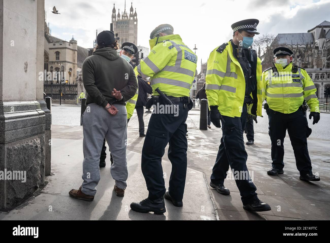 Coronavirus: Arrests are made during an attempted anti-lockdown demonstration in Parliament Square, London against the current lock-down restrictions. Stock Photo