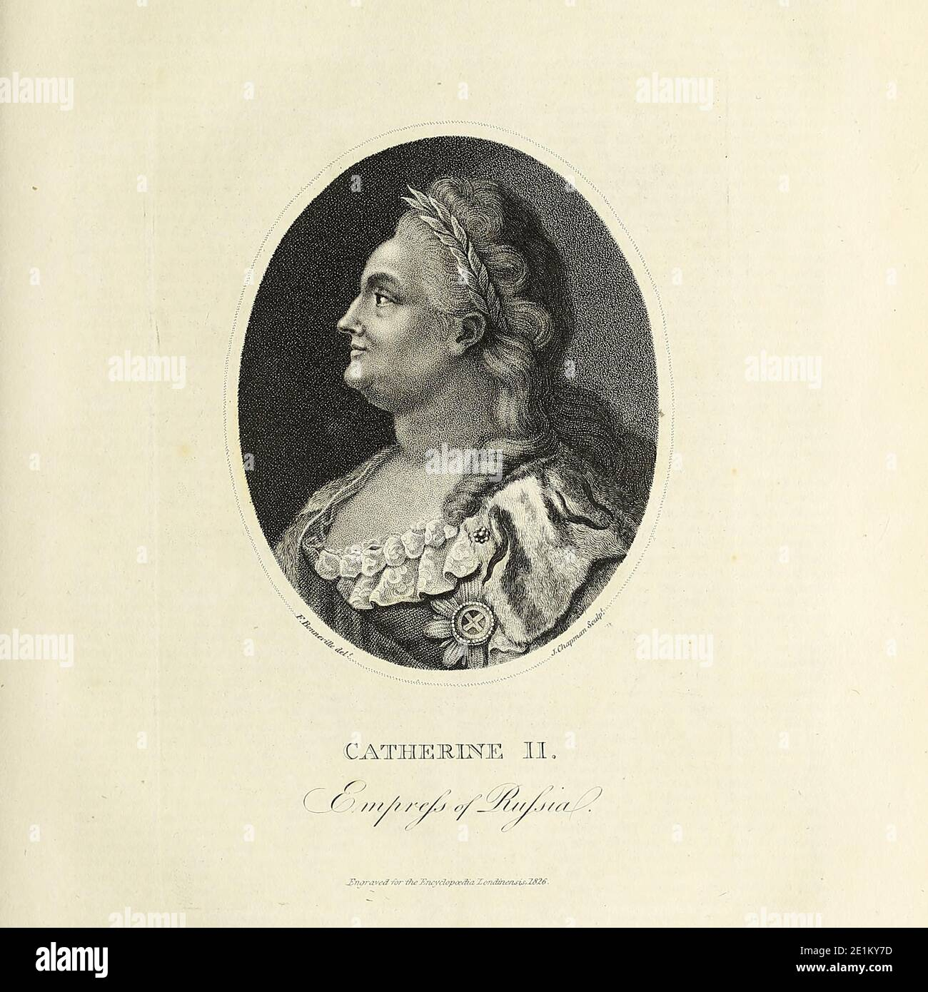 Catherine II (born Sophie of Anhalt-Zerbst; 2 May 1729 in Szczecin – 17 November 1796), most commonly known as Catherine the Great, was Empress of All Russia from 1762 until 1796—the country's longest-ruling female leader. She came to power following a coup d'état that overthrew her husband and second cousin, Peter III. Under her reign, Russia grew larger, its culture was revitalised, and it was recognized as one of the great powers worldwide. Copperplate engraving From the Encyclopaedia Londinensis or, Universal dictionary of arts, sciences, and literature; Volume XXII;  Edited by Wilkes, Joh Stock Photo