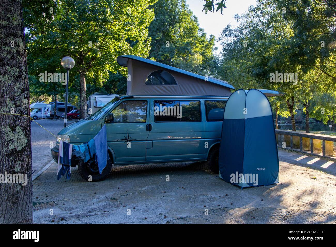 Vw T4 Camping With Offroad Camper Vw T4 Syncro California Coach Campervan With Pop Up Roof At Public Parking In Ponte Da Barca North Of Portugal Stock Photo Alamy