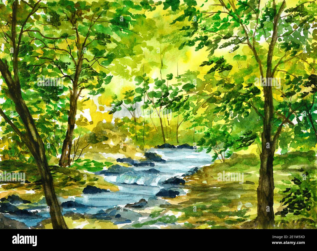 Watercolor Landscape With Trees High Resolution Stock Photography And Images Alamy