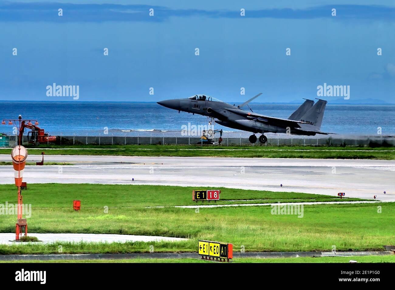 JSDF , Mitsubishi F-15J, 22-8941, Landing , After Patrol, Naha Airport, Okinawa, Japan Stock Photo