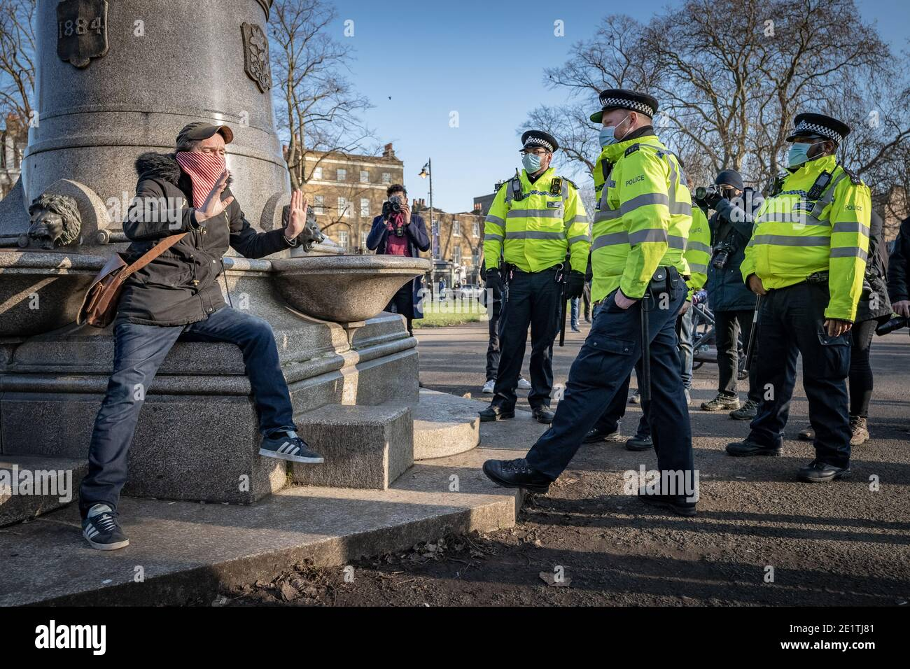 Coronavirus: Arrests are made during an attempted anti-lockdown gathering in Clapham Common against the current government COVID19 restrictions, UK. Stock Photo