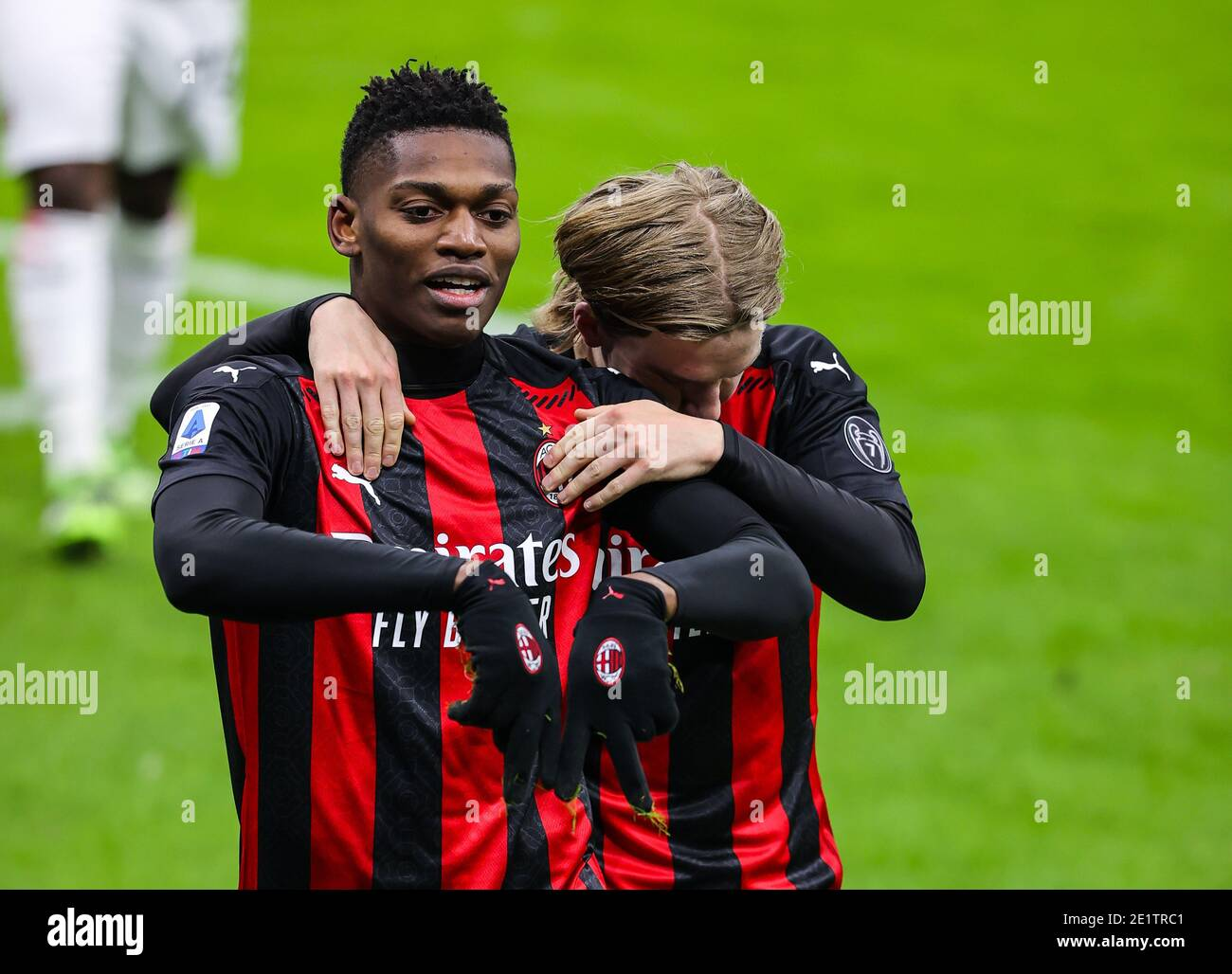 Giuseppe Meazza San Siro stadium, Milan, Italy. 09th Jan, 2021. Rafael Leao of AC Milan celebrates the goal during AC Milan vs Torino FC, Italian football Serie A match - Photo Fabrizio Carabelli/LM Credit: LiveMedia/Alamy Live News Stock Photo