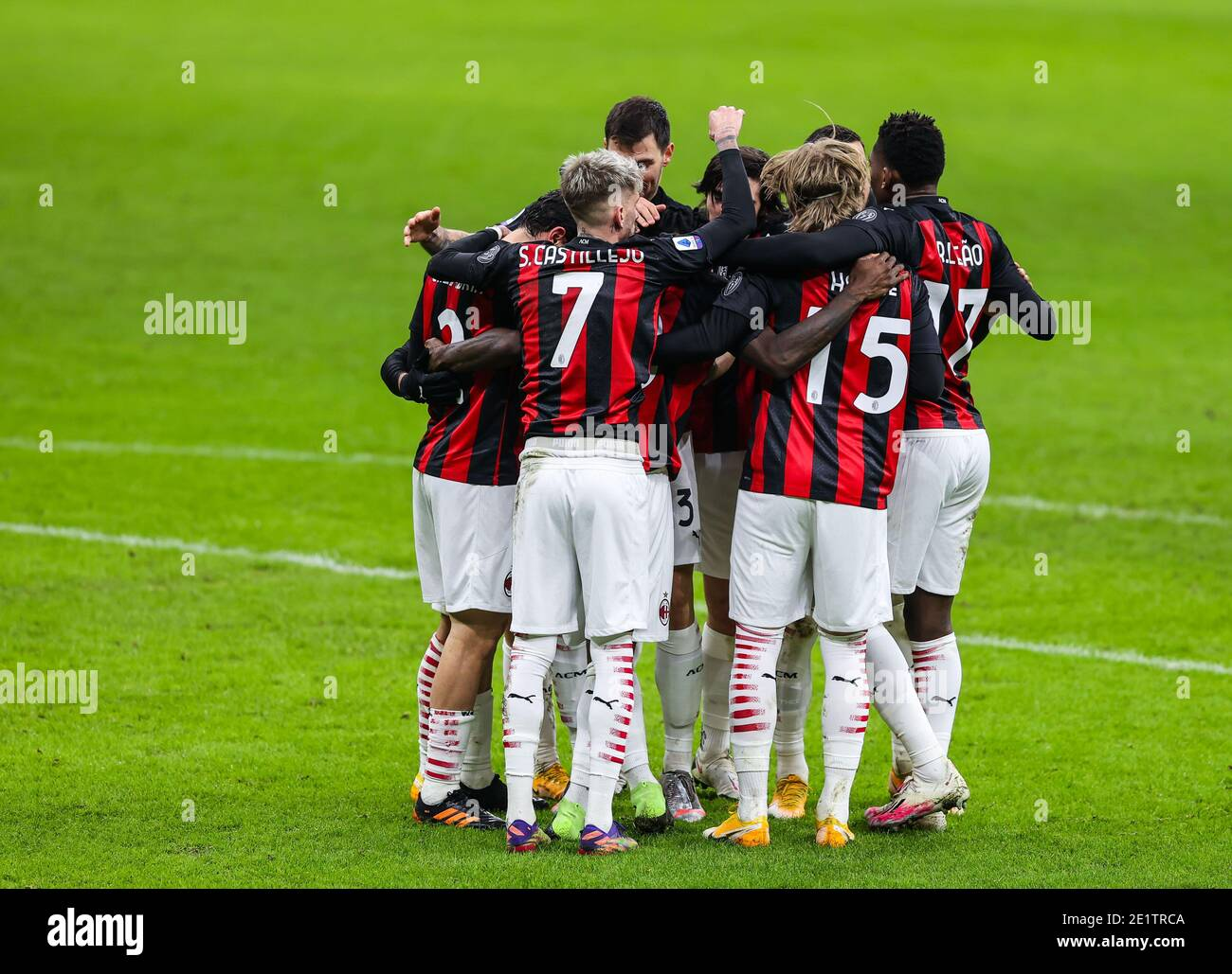 Giuseppe Meazza San Siro stadium, Milan, Italy. 09th Jan, 2021. Franck Kessie of AC Milan celebrates with his teammates during AC Milan vs Torino FC, Italian football Serie A match - Photo Fabrizio Carabelli/LM Credit: LiveMedia/Alamy Live News Stock Photo