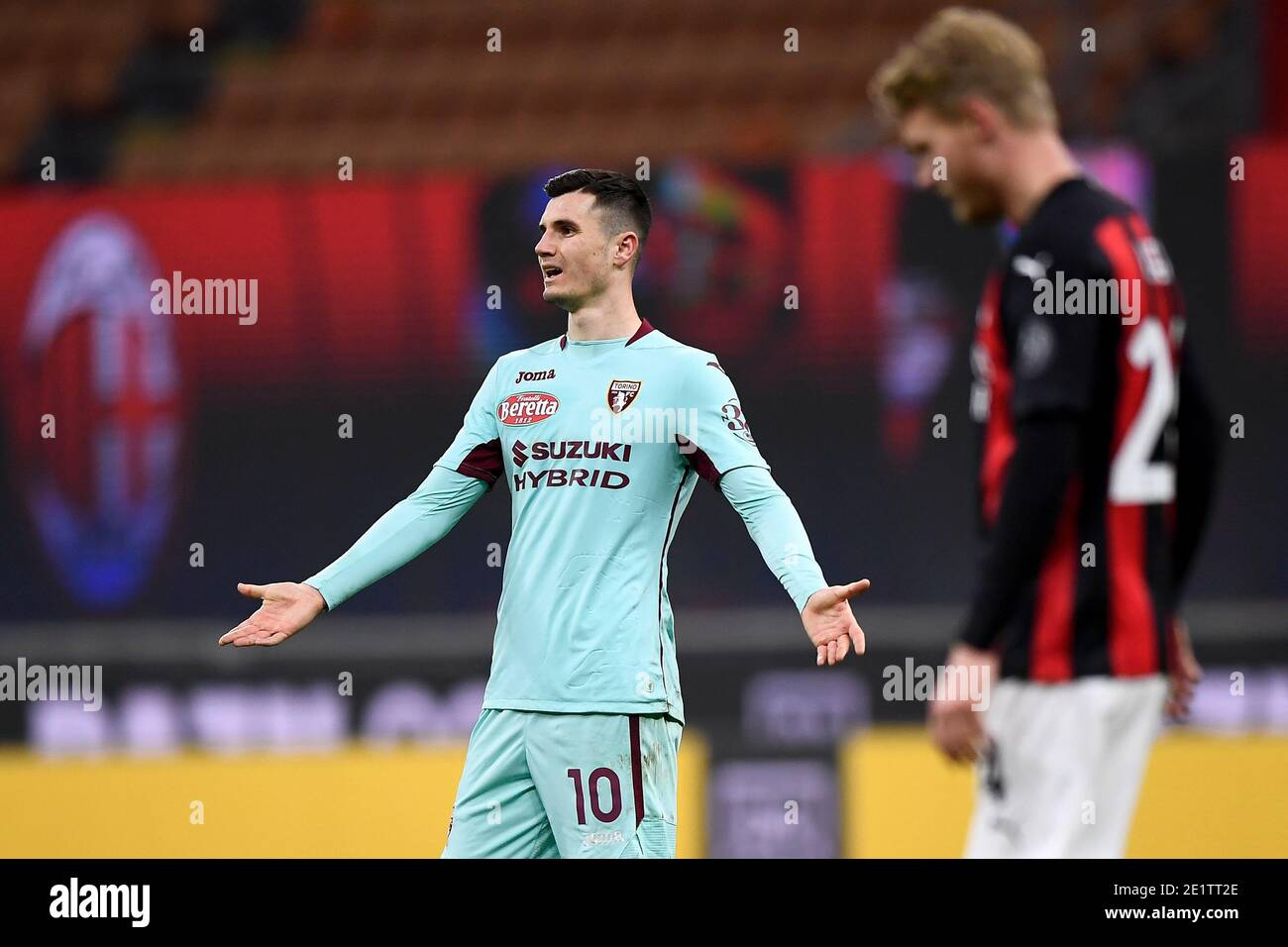 Milan, Italy. 09th Jan, 2021. MILAN, ITALY - January 09, 2021: Amer Gojak of Torino FC reacts during the Serie A football match between AC Milan and Torino FC. (Photo by Nicolò Campo/Sipa USA) Credit: Sipa USA/Alamy Live News Stock Photo