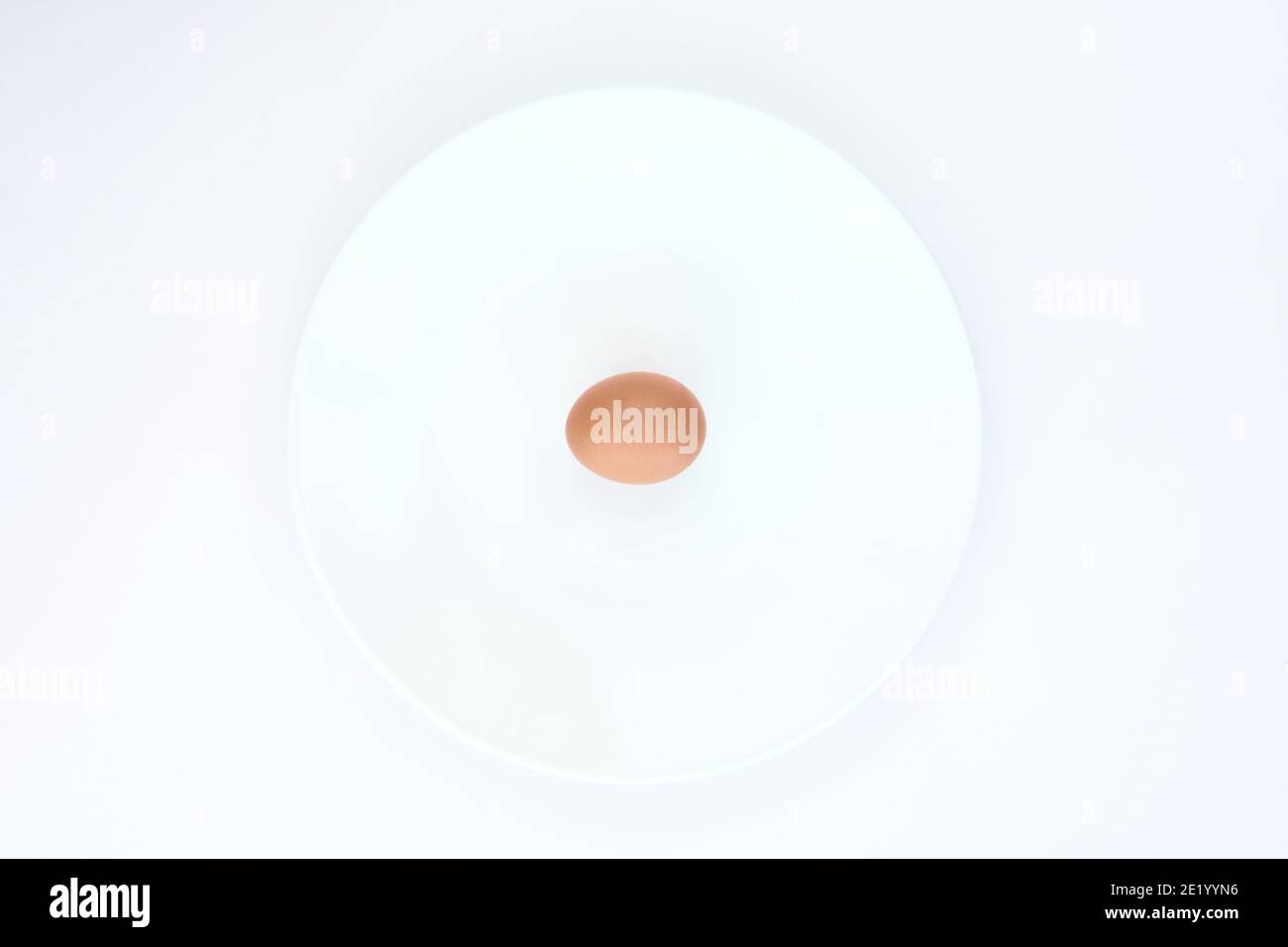 Isolated egg on a white plate on a white background Stock Photo