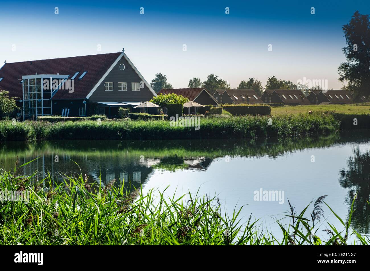 Netherlands, Goes. Dutch countryside lake landscape: reeds along the lake shore. Groups of characteristic chalets, one on the lake shore is reflected Stock Photo