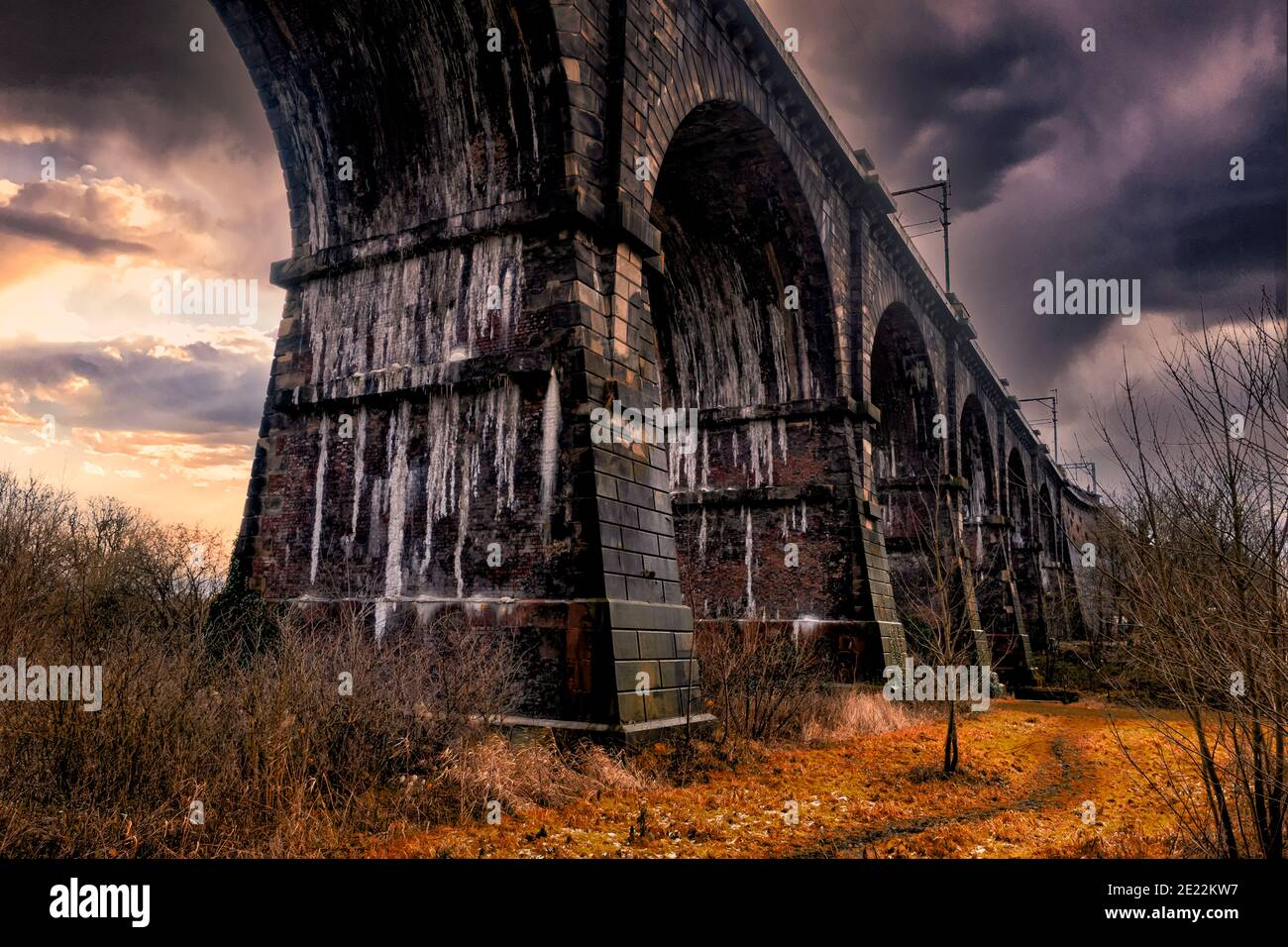 "The Sankey Viaduct is a railway viaduct in North West England. It is a designated Grade I listed building and has been described as being ""the earlies Stock Photo"