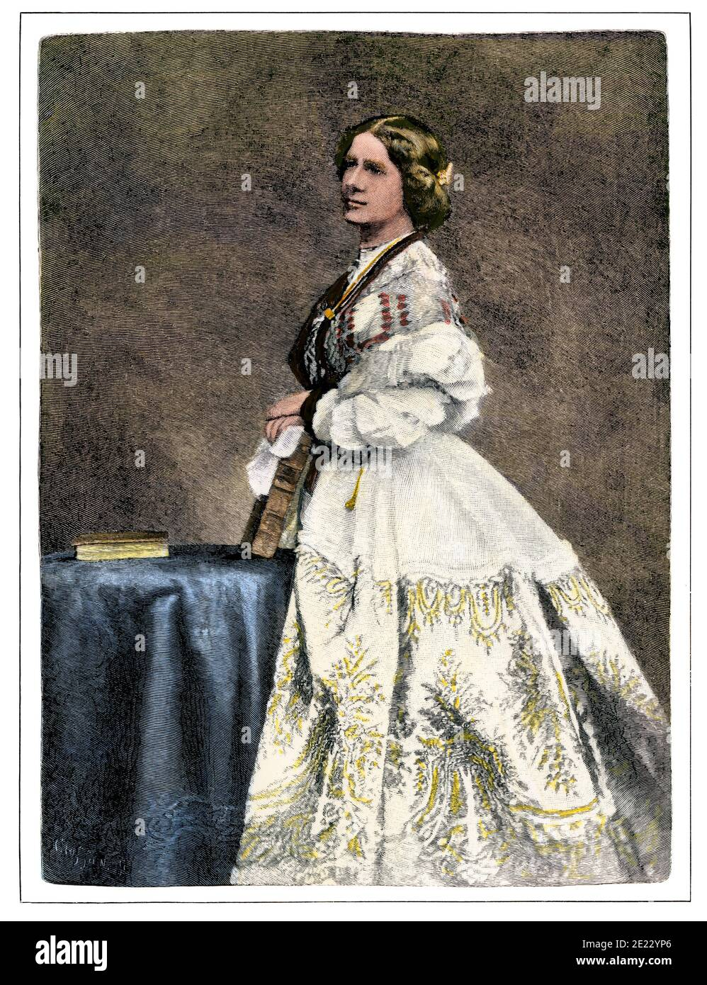 """Singer Jenny Lind Goldschmidt, """"The Swedish Nightingale,"""" 1800s. Hand-colored woodcut of a photograph Stock Photo"""
