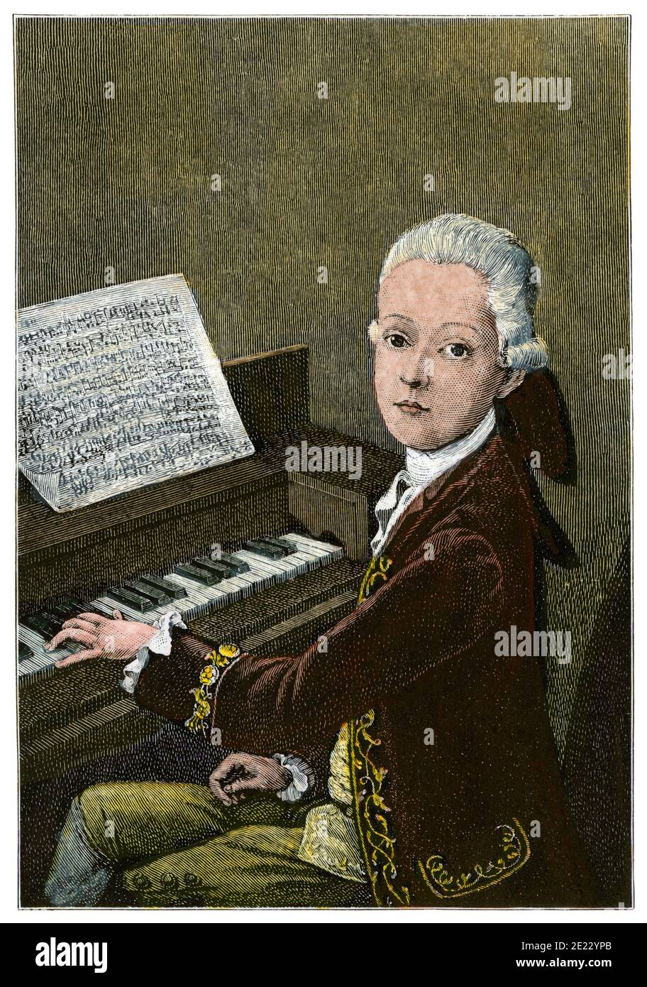 Mozart at age 9. Hand-colored woodcut Stock Photo
