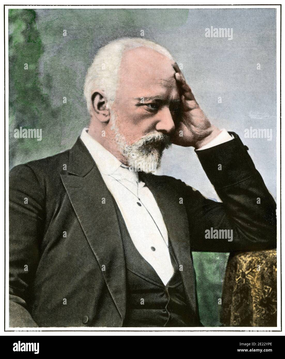Tchaikovsky at Kharkiv in Ukraine. Hand-colored halftone of a photograph Stock Photo