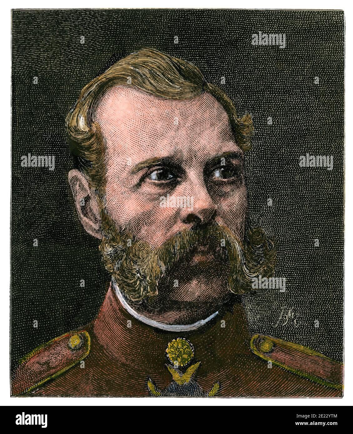 Alexander II, emperor of Russia. Hand-colored woodcut Stock Photo