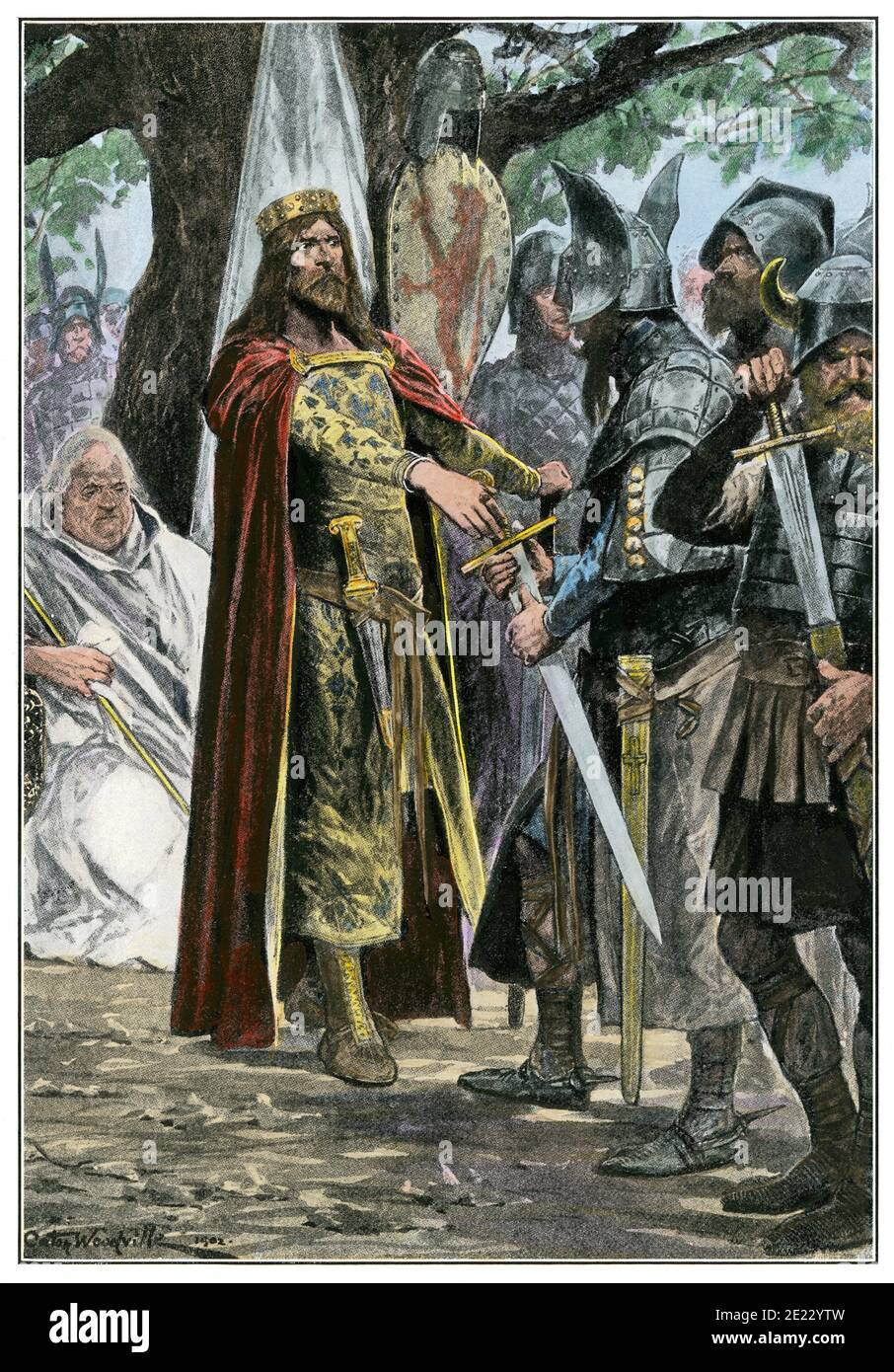 Alfred acknowledged as king of all England. Hand-colored halftone of an illustration Stock Photo