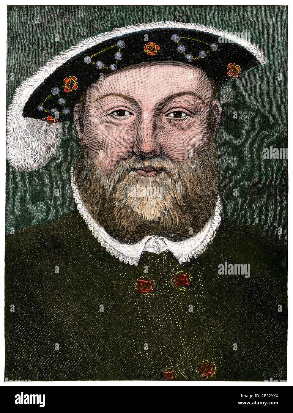 Henry VIII, King of England. Hand-colored woodcut Stock Photo