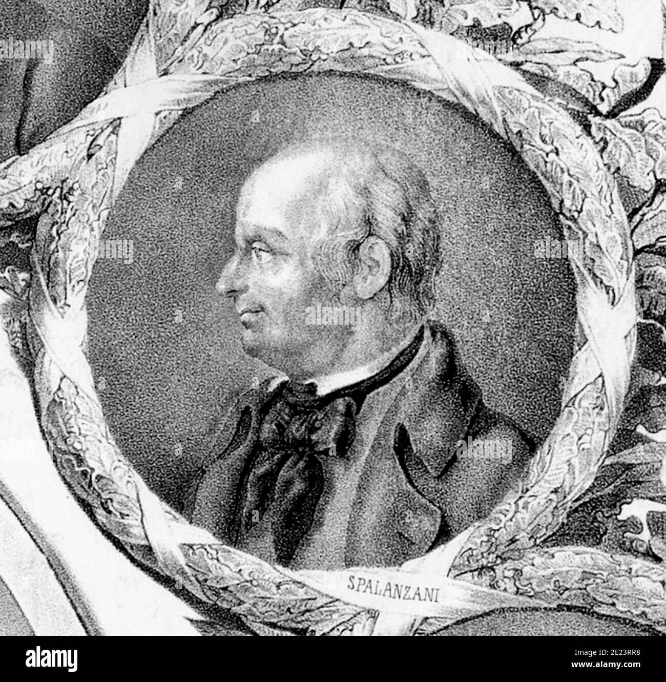1780 ca , ITALY : The celebrated Italian Jesuit priest , biologist and physiologyst LAZZARO SPALLANZANI ( 1729 - 1799 ), engraving from  unknown artist from XIX century . .- PROFESSOR - PROFESSORE   - foto storiche - foto storica  - scienziato - scientist  - BIOLOGO - BIOLOGISTT - BIOLOGIA - BIOLOGY   - DOTTORE - MEDICO - MEDICINA - medicine  - SCIENZA - SCIENCE - incisione - illustrazione - illustration - FISIOLOGIA - FISIOLOGO - batteriologo - batteriologia ---  Archivio GBB Stock Photo